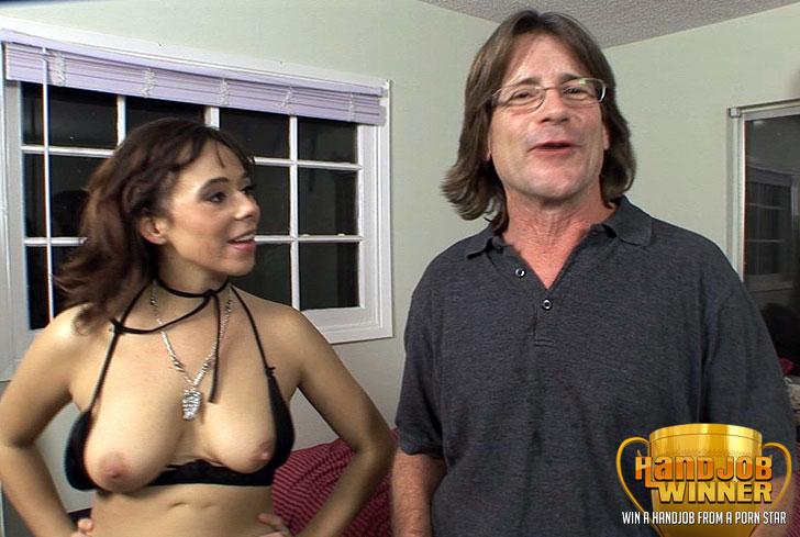 Arielle Alexis Giving a Handjob to Lucky Winner Dave