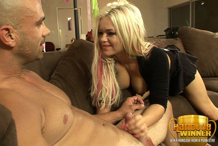 Crista Moore Giving a Handjob to Lucky Winner Rocky