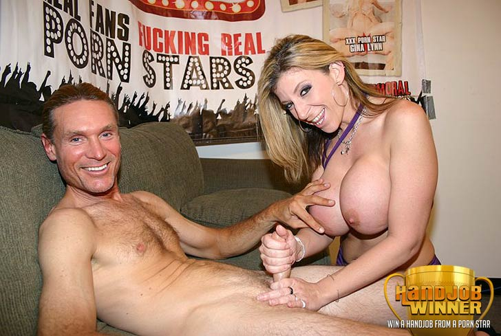 Sara Jay Giving a Handjob to Lucky Winner